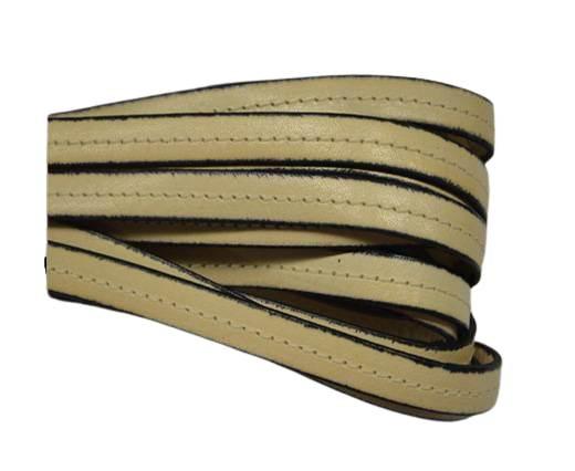 Italian Flat Leather-Center Stitched - Black edges - Cream