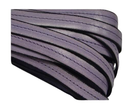 Italian Flat Leather-Center Stitched - Black edges - Purple