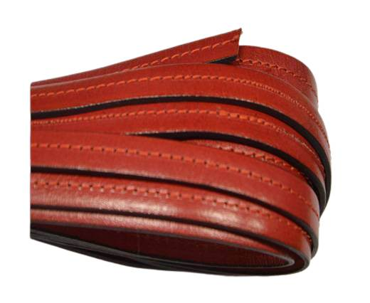 Italian Flat Leather-Center Stitched - Black edges - Red