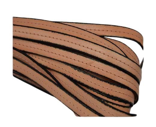 Italian Flat Leather-Center Stitched - Black edges - Salmon