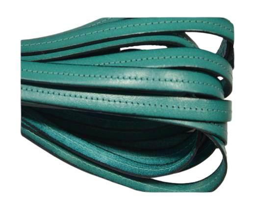 Italian Flat Leather-Center Stitched - Black edges - turquoise