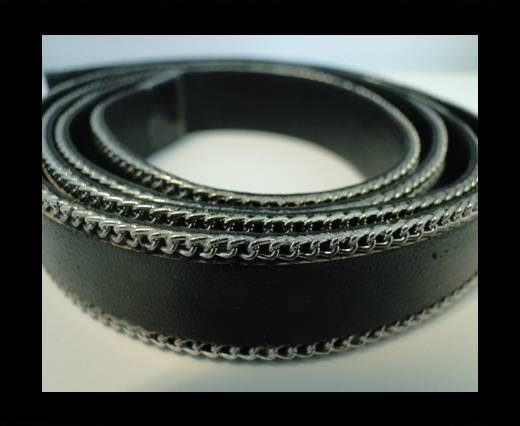 Buy Flat Leather with Chain- Black-10mm at wholesale prices
