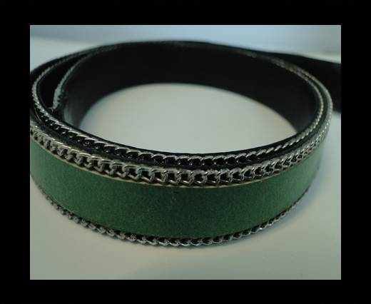 Buy Flat Leather with Chain- Green-10mm at wholesale prices