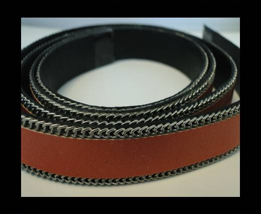 Buy Flat Leather with Chain- Orange-10mm at wholesale prices