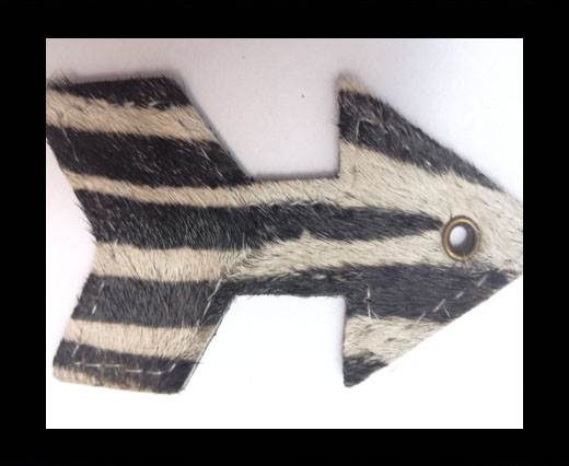 KC-Key Cord Arrow Shape 8cm zebra white hair-on