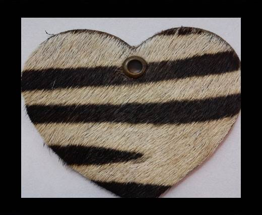 KC-Key Cord Heart Shape 4cm zebra white