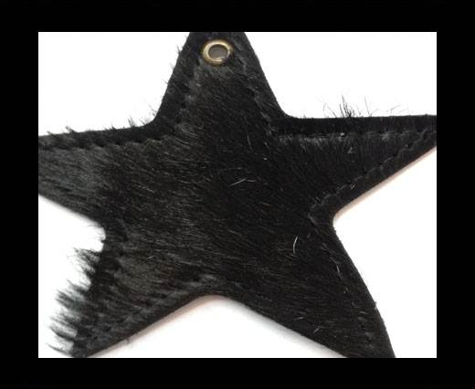 KC-Key Cord Star Shape 8cm black hair-on