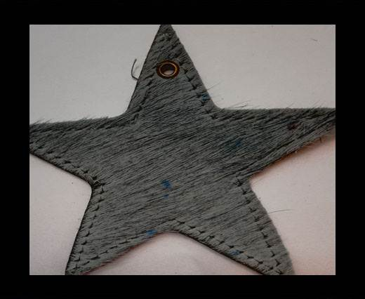 KC-Key Cord Star Shape 8cm grey hair-on