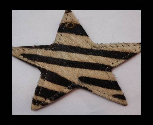 KC-Key Cord Star Shape 8cm zebra light brown hair-on