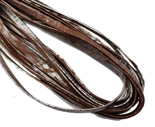 Flat Nappa Leather cords - 5mm - l+ímina silver brown2