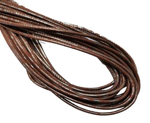 Round Stitched Leather Cord - 3mm - LAMINA SILVER BROWN