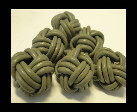Leather Beads -8mm-Light Khaki