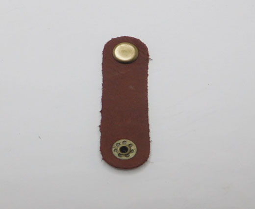 LEATHER BUTTON CLIP - COGNAC