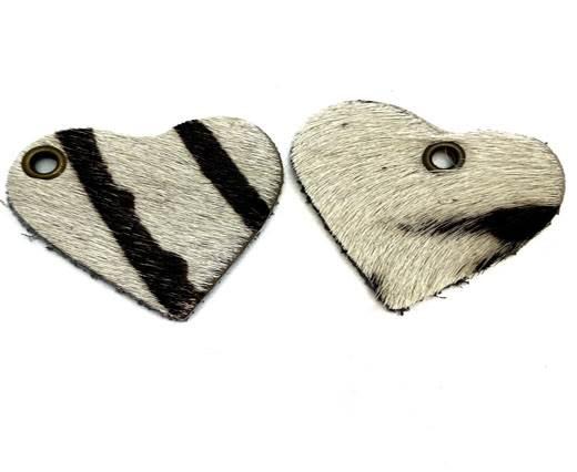 KC-Key Cord Heart Shape 8cm zebra white hair-on