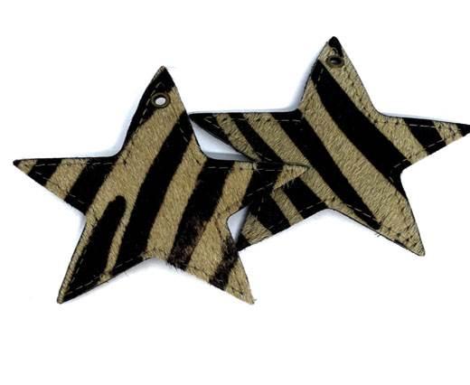 KC-Key Cord Star Shape 4cm zebra hair-on