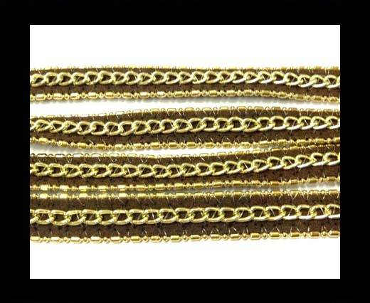 Leather with 3 chains-10mm-Brown