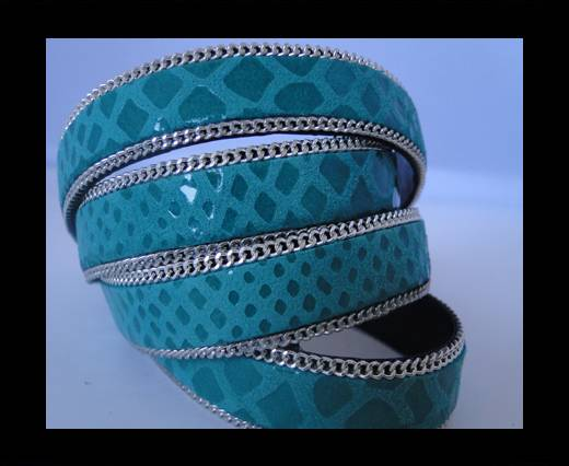 Leather with snake Print -Blue