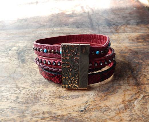 Buy LeatherBracelet05 - Red at wholesale prices
