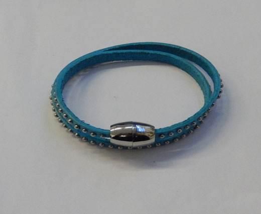 LeatherStudsBracelet01 - Turquoise