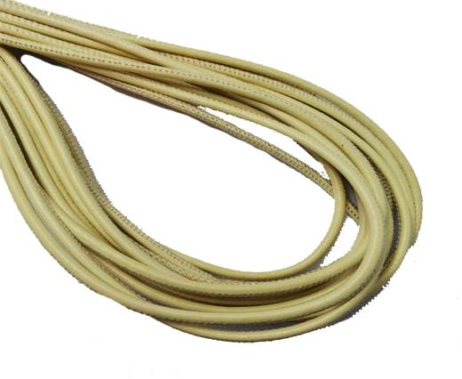 Round Stitched Leather Cord - 3mm - LEMON