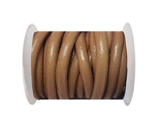 Round Leather Cord - 5mm - Light brown