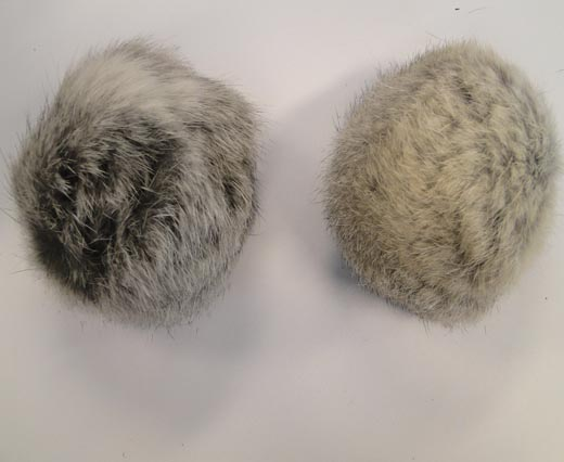 Rabbit Fur Pom Pom-Light Grey-8cms