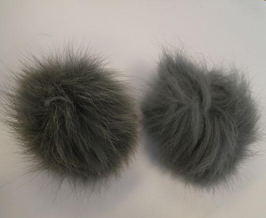 Fox Fur Pom Pom-Light Grey-10cms