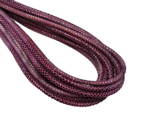 Round Stitched Nappa Leather Cord-4mm-Lizard bordeaux1
