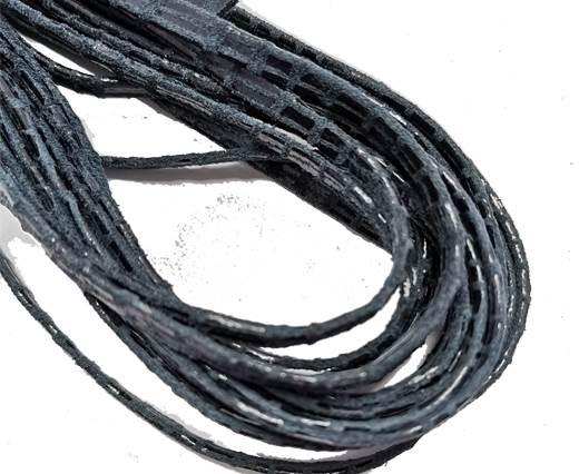 Flat Nappa Leather cords - 5mm - Lizard dark blue