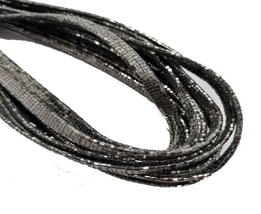 Flat Nappa Leather cords - 5mm - Lizard l+ímina dark silver