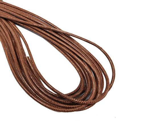 Round Stitched Leather Cord - 3mm - LIZARD STYLE - BROWN