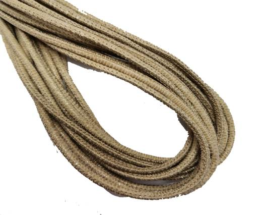 Round Stitched Leather Cord - 3mm - LIZARD STYLE - LIGHT SEND