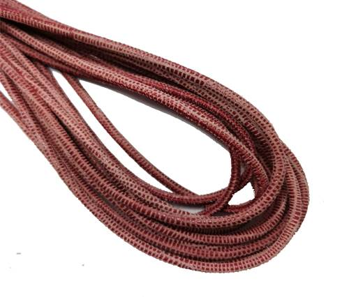 Round Stitched Leather Cord - 3mm - LIZARD STYLE - PINK