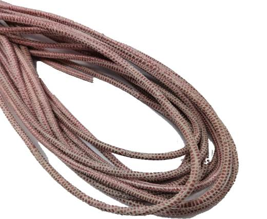 Round Stitched Leather Cord - 3mm - LIZARD STYLE - RED