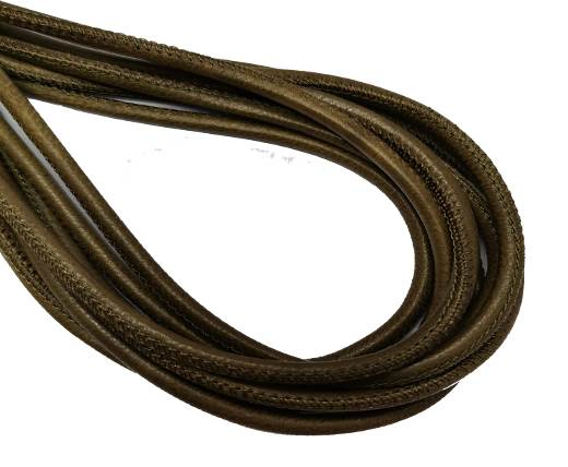 Round Stitched Nappa Leather Cord-4mm-loden