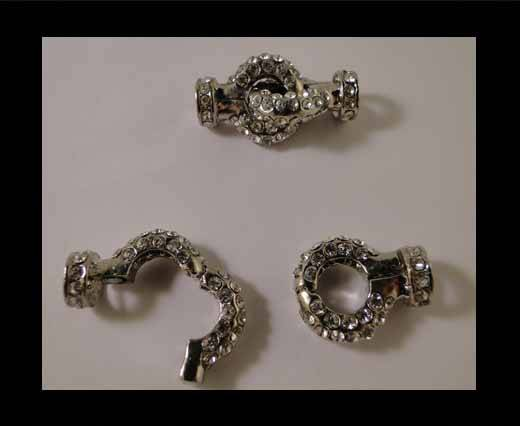 Brass clasp for necklace MG34-Silver Crystals