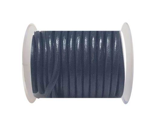Round Leather Cord - 5mm - Marine blue