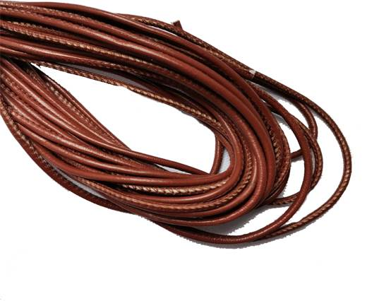 Round Stitched Leather Cord - 3mm - MEDIUM BROWN