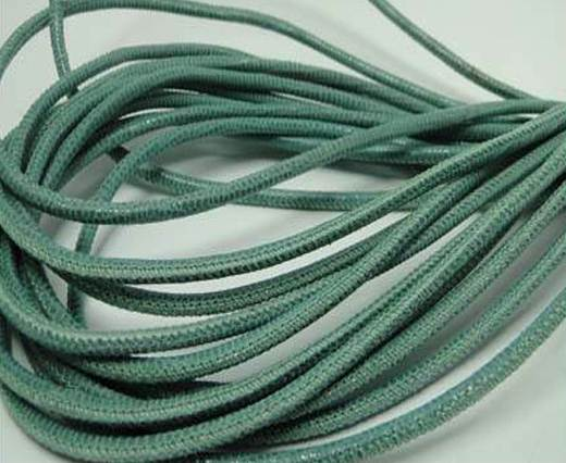 Round stitched nappa leather cord Lizard Prints-Menta Lizard- 2.5