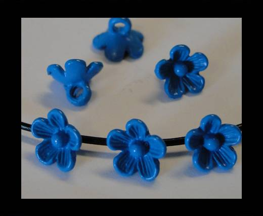 Metal Beads-Flower-Blue Zircan-8mm