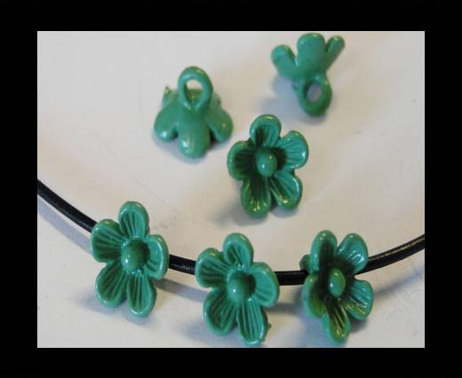 Metal Beads-Flower-Green-8mm