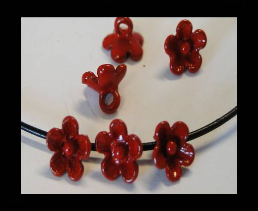 Metal Beads-Flower-Red-8mm