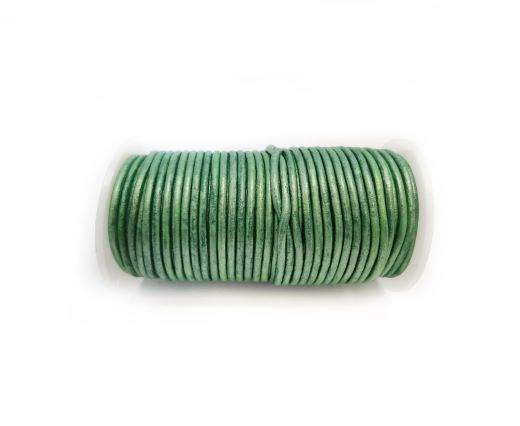 Round leather cord-2mm-Metallic Apple Green