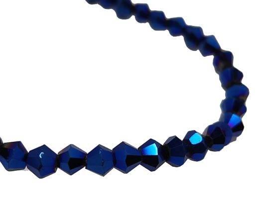 Round leather cord-2mm-Metallic Blue