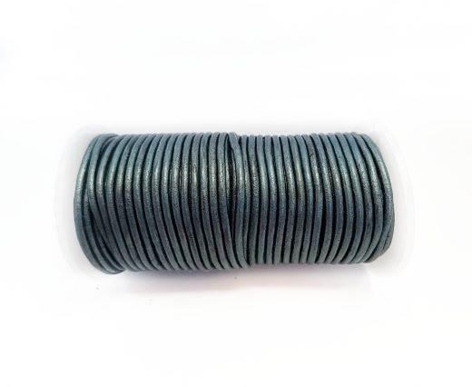 Round leather cord-2mm-Metallic Dark Blue