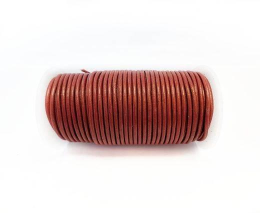 Round leather cord-2mm-Metallic Dark Orange