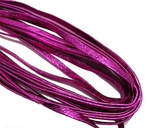 Flat Nappa Leather cords - 5mm - metallic fuchsia