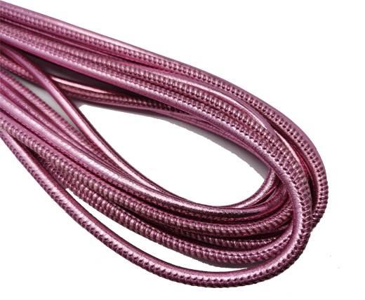 Round Stitched Nappa Leather Cord-4mm-metallic pink 1
