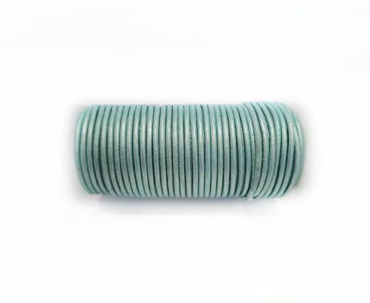 Round leather cord-2mm-Metallic Seafoam