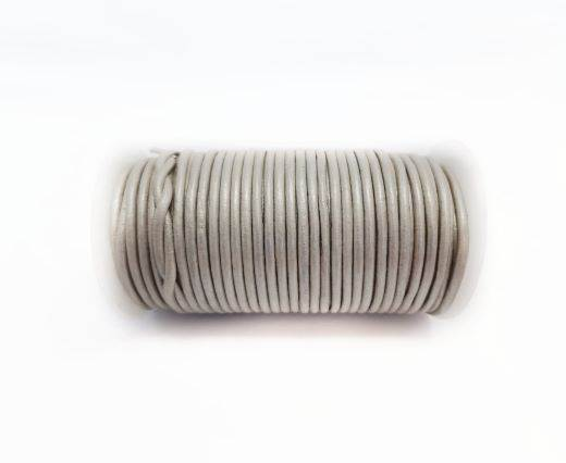 Round leather cord-2mm-Metallic Silver